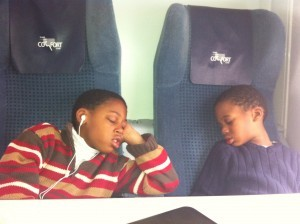 Sleeping Via Rail kids