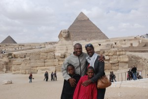 family sphinx pyramid