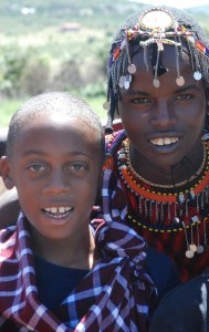 masai and child kenya