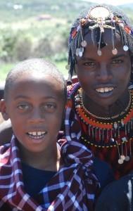 masai and child kenya