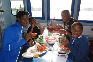 lobster family eating