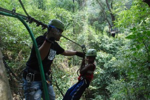 This is me zip-lining in Thailand