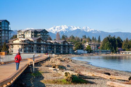 view of parksville beach and mount arrowsmith, parksville, vancouver island, british columbia