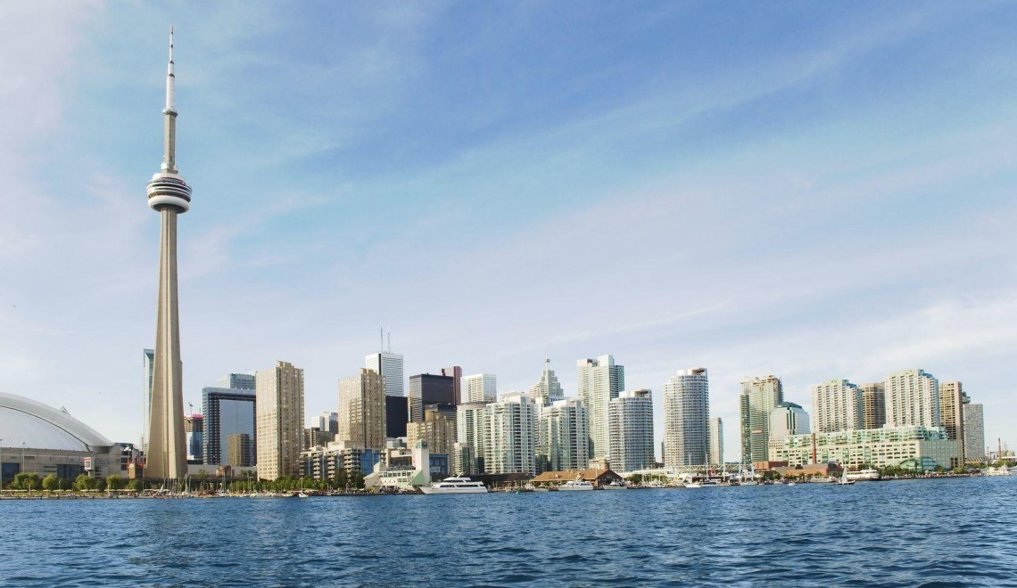 a wideangle skyline of toronto - Toronto Hotel Deals